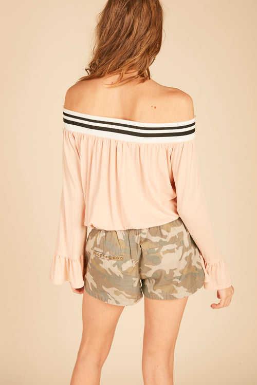 Pink Striped Off Shoulder Top