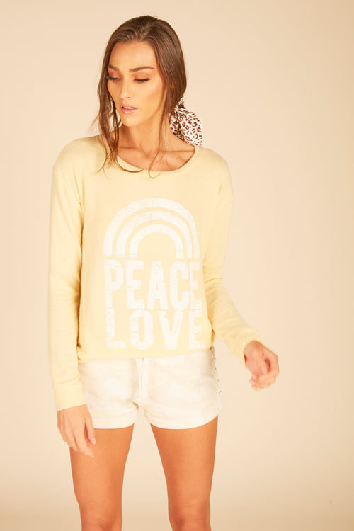"""Peace Love"" Brushed Hacci Crewneck"
