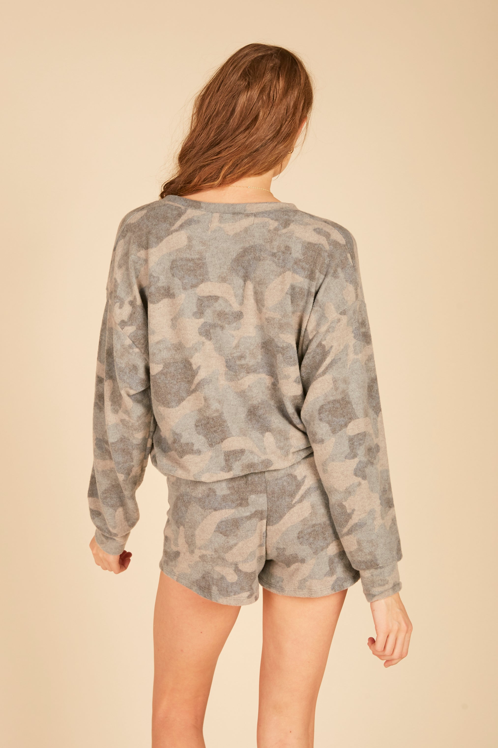 Grey Camo Brushed Hacci Shorts