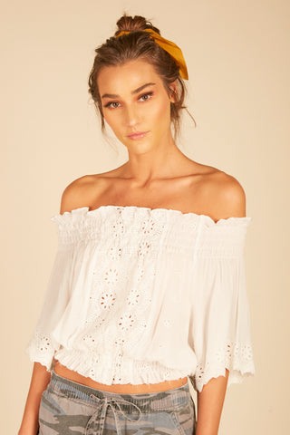Scallop Lace Up Cold Shoulder Top