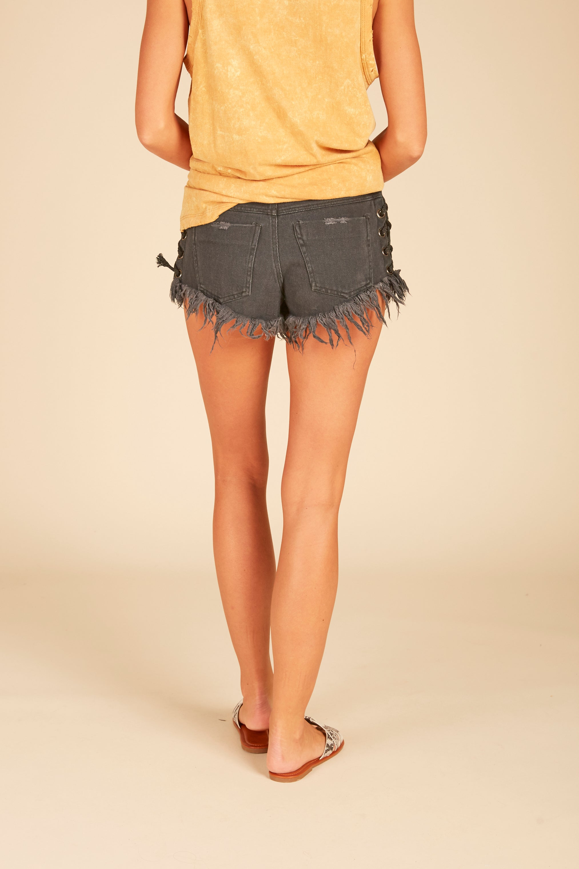 Black Denim Lace Up Shorts
