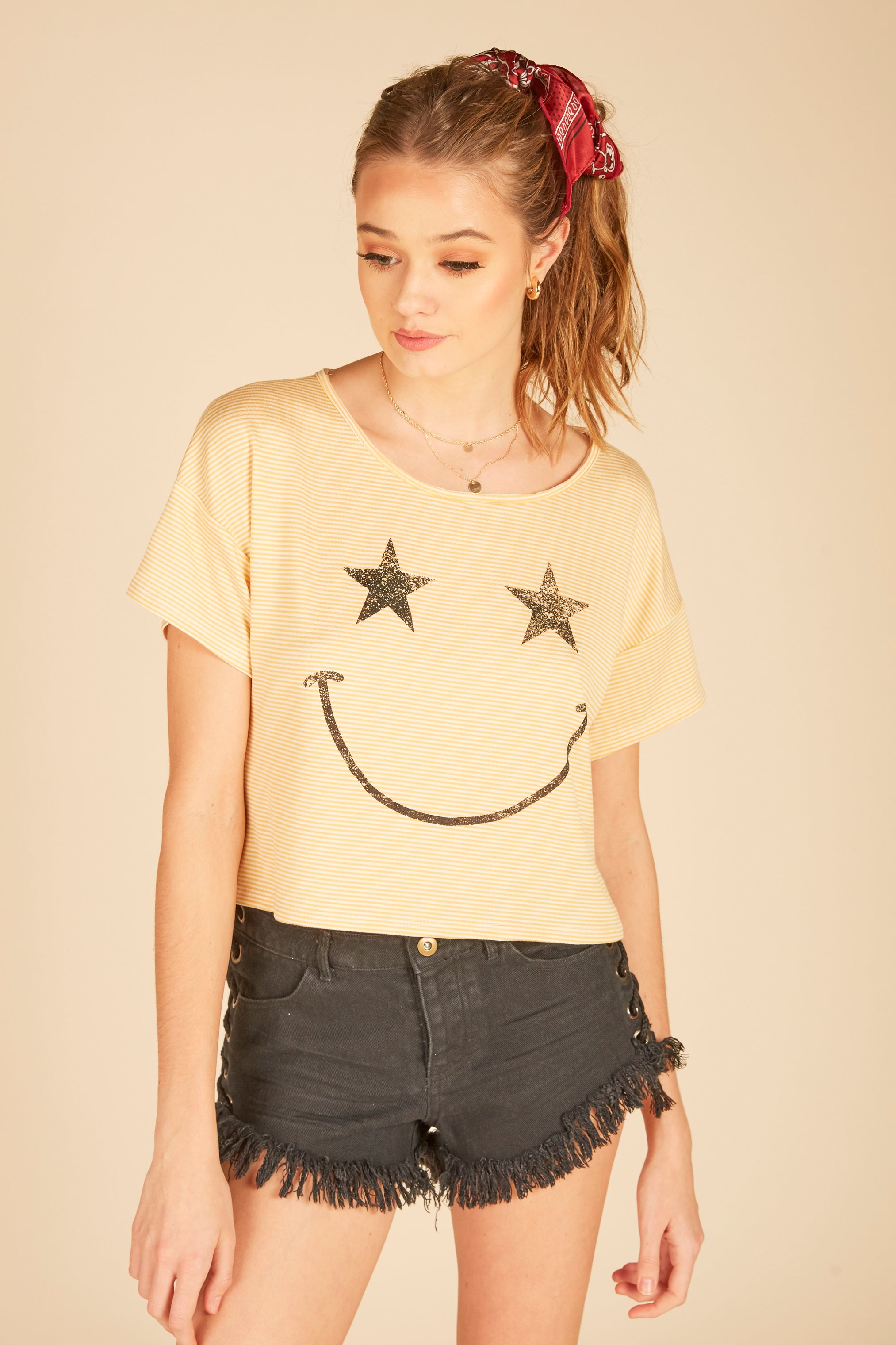 """Smiley Face"" Boxy Crop Tee"
