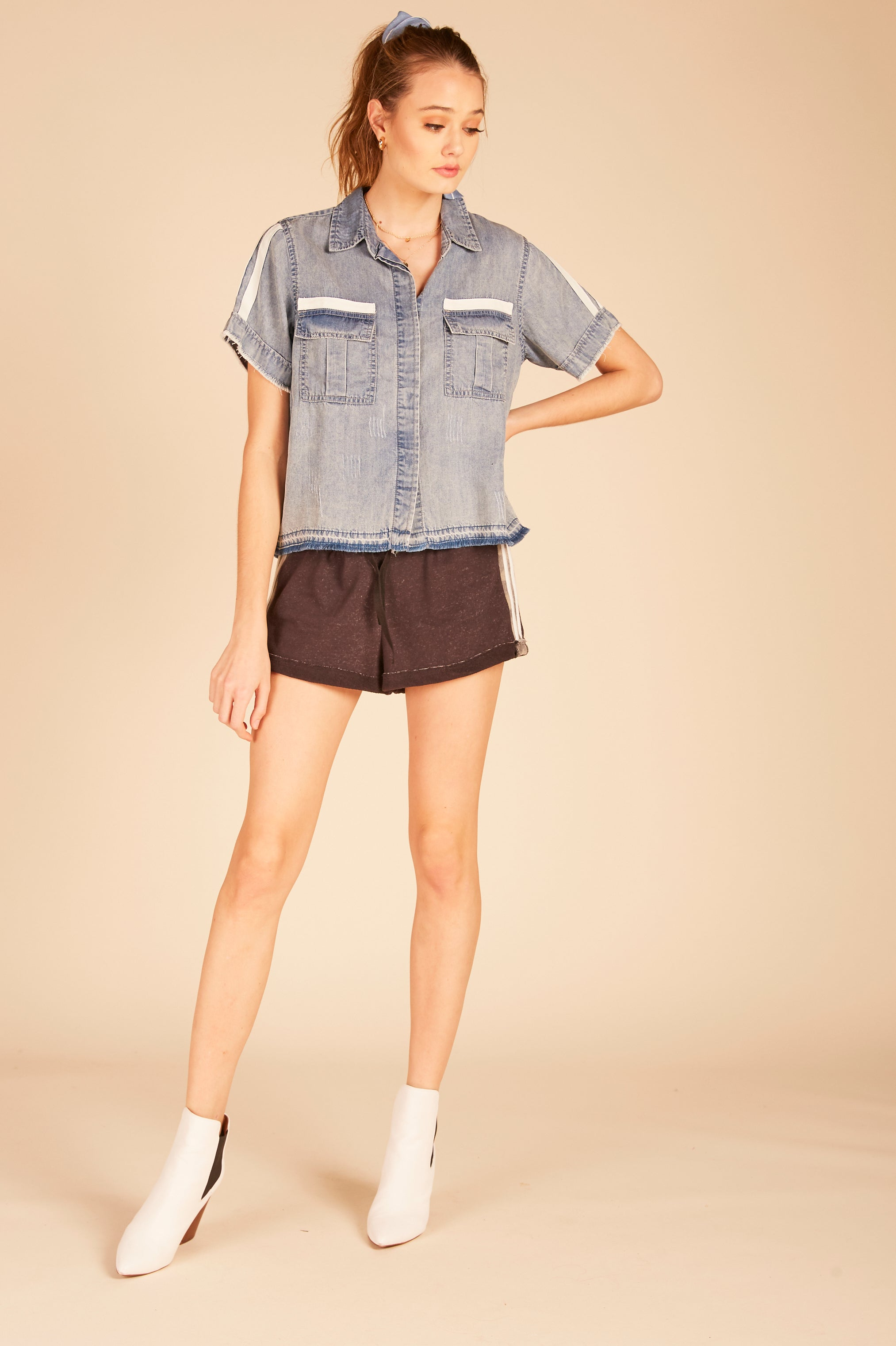 Boxy Crop Tencel Shirt