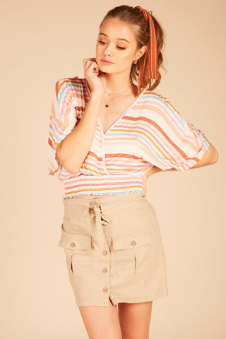 Retro Stripe Burnout Shorts
