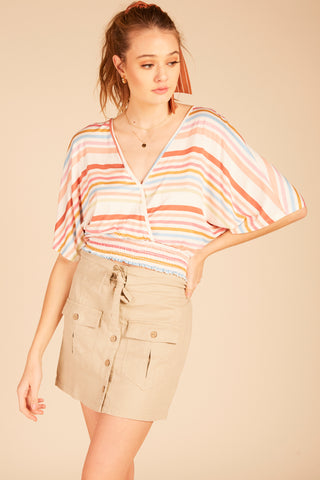 Striped Ruffle Sleeve Crop Top