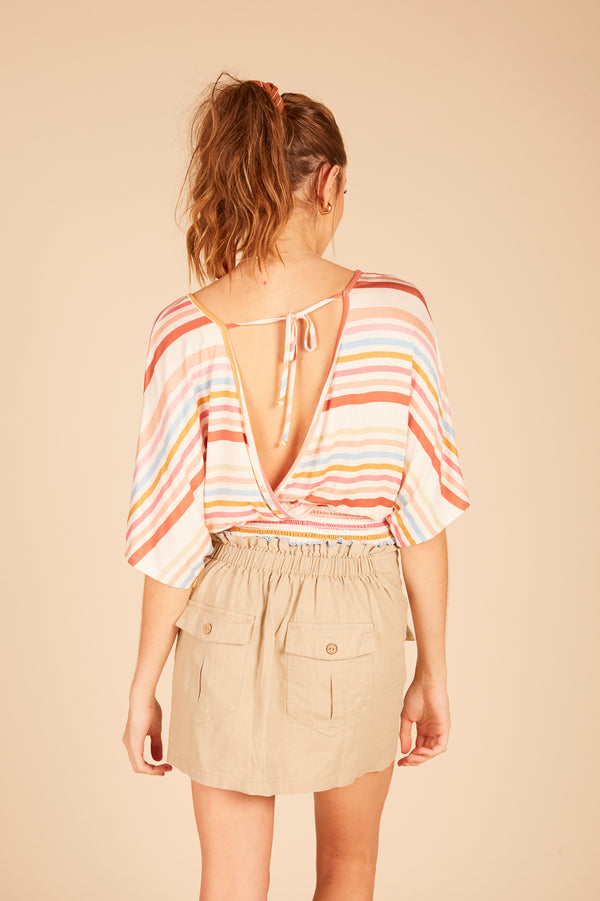 Multi Striped Surplice Top