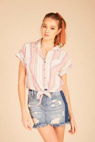 Textured Stripe Off Shoulder Top