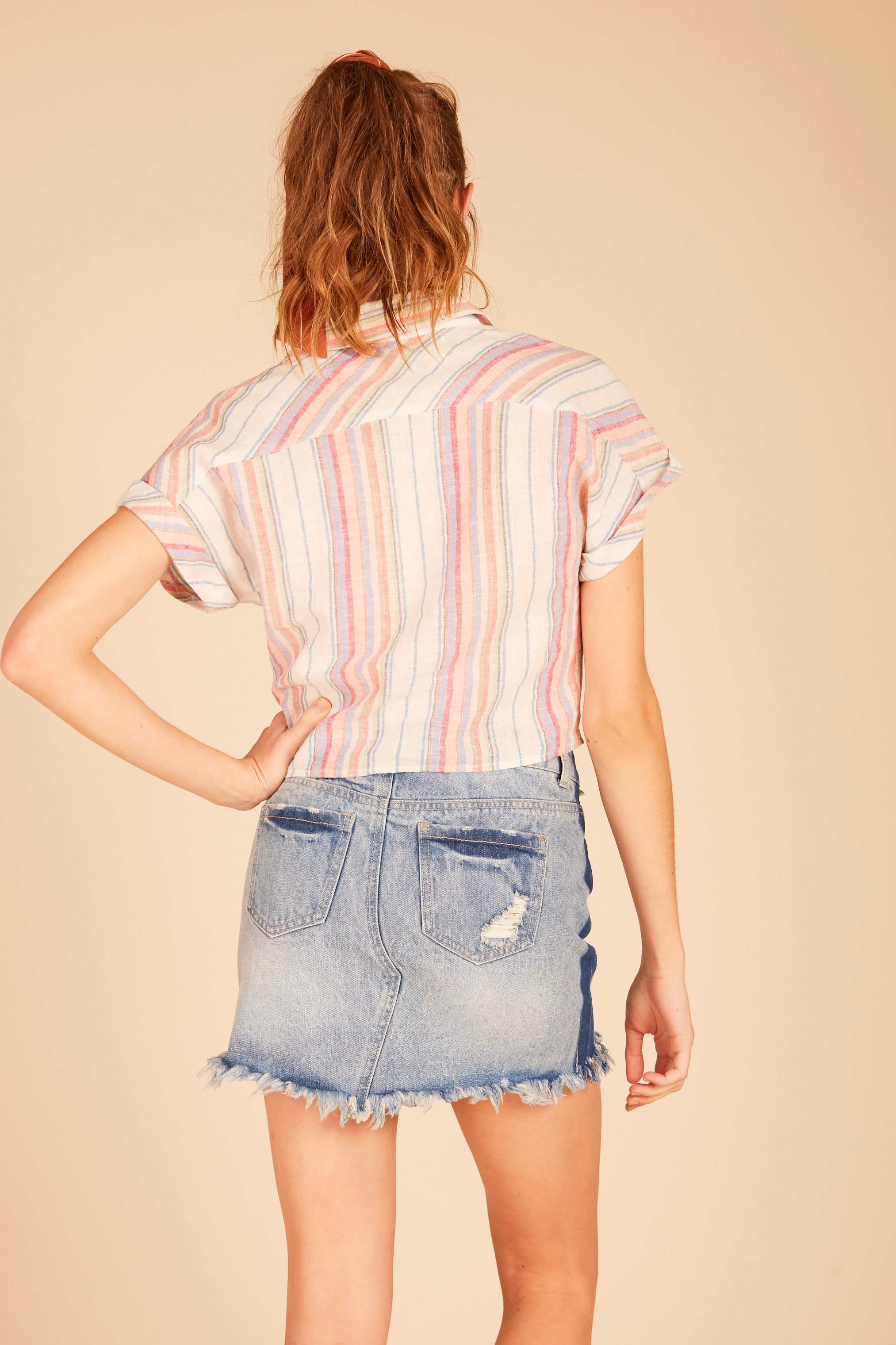 Lurex Linen Crop Shirt