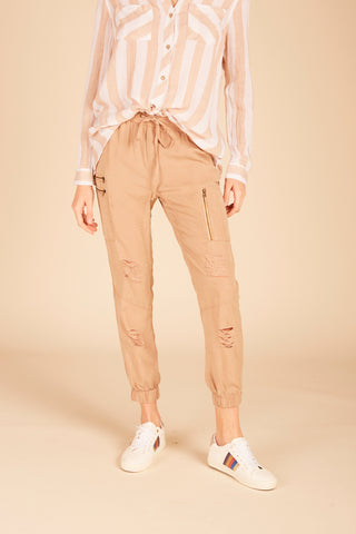 Striped Button Gaucho Pant