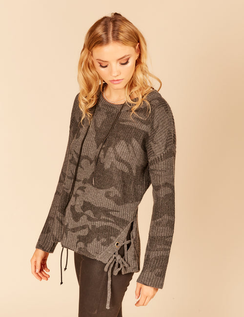 Twisted Lace Up Detail Knit Sweater