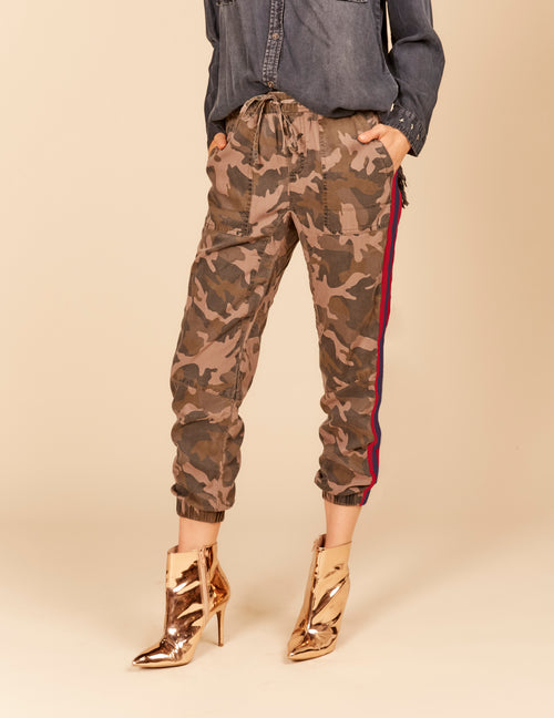 Camo Jogger Pants With Stripe Taping