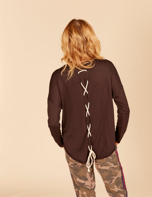 Contrast Lace Up Back Round Hem Top
