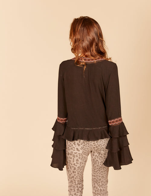 Embroidered Trim 3-Tier Bell Sleeve Ruffle Blouse