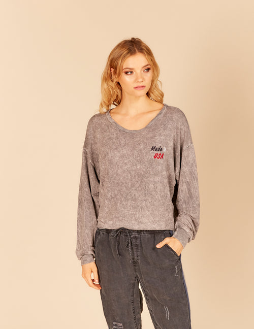 """Made In USA"" Embroidered Chest Crop Sweatshirt"