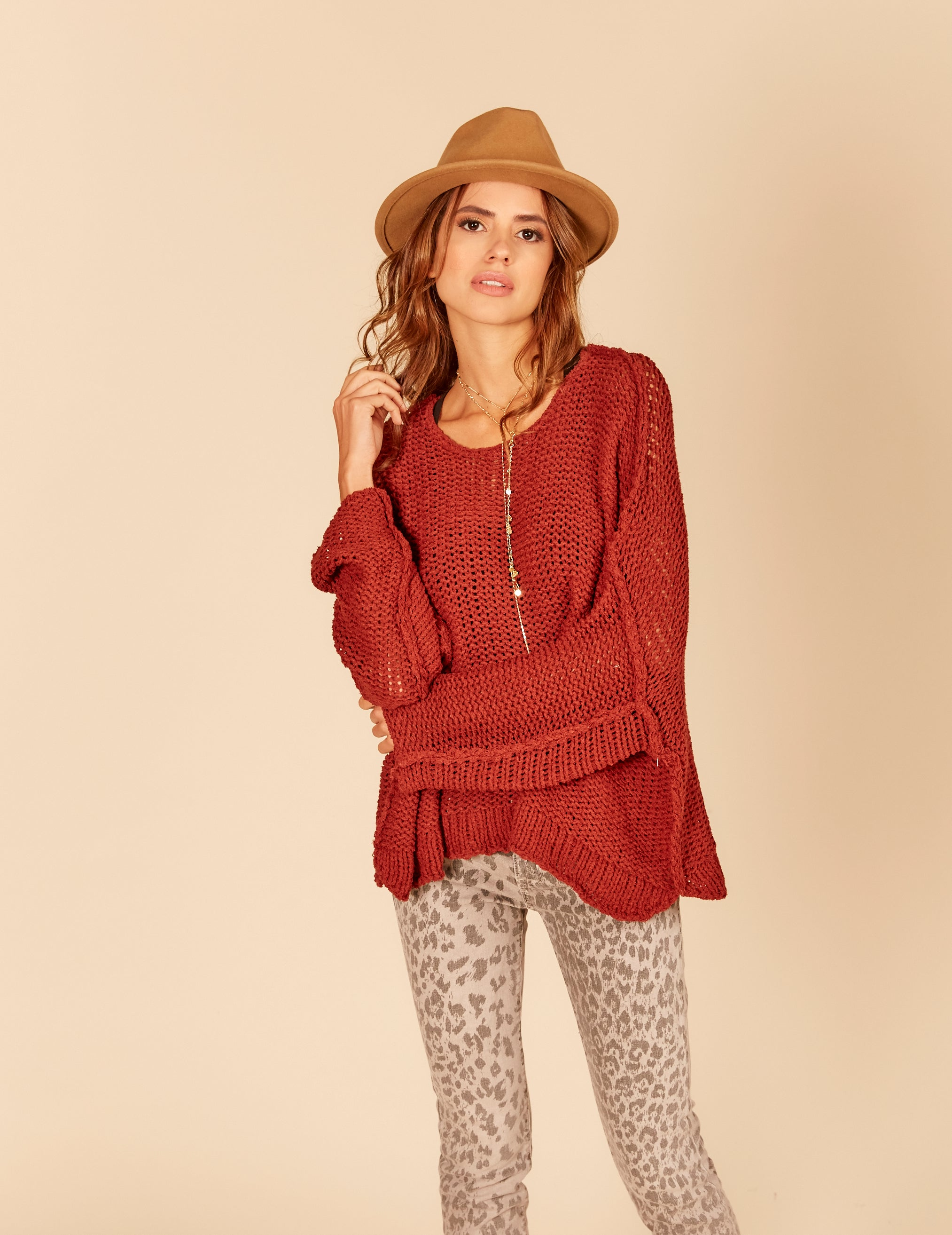 Thick Knit Open Sleeve Boxy Sweater