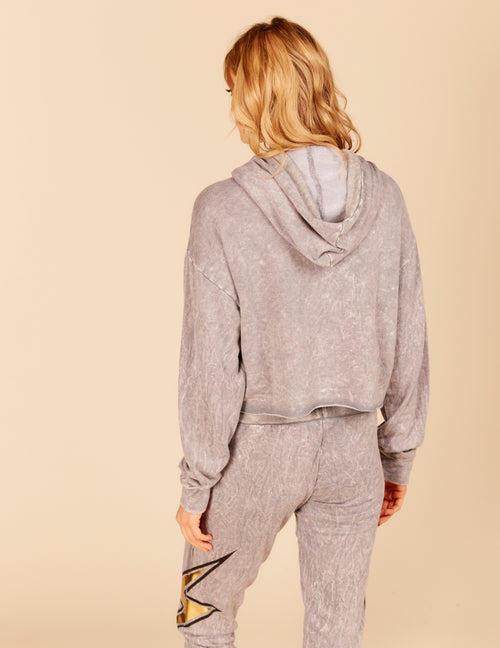 Lightning Bolt Foil Graphic Boxy Crop Hoody