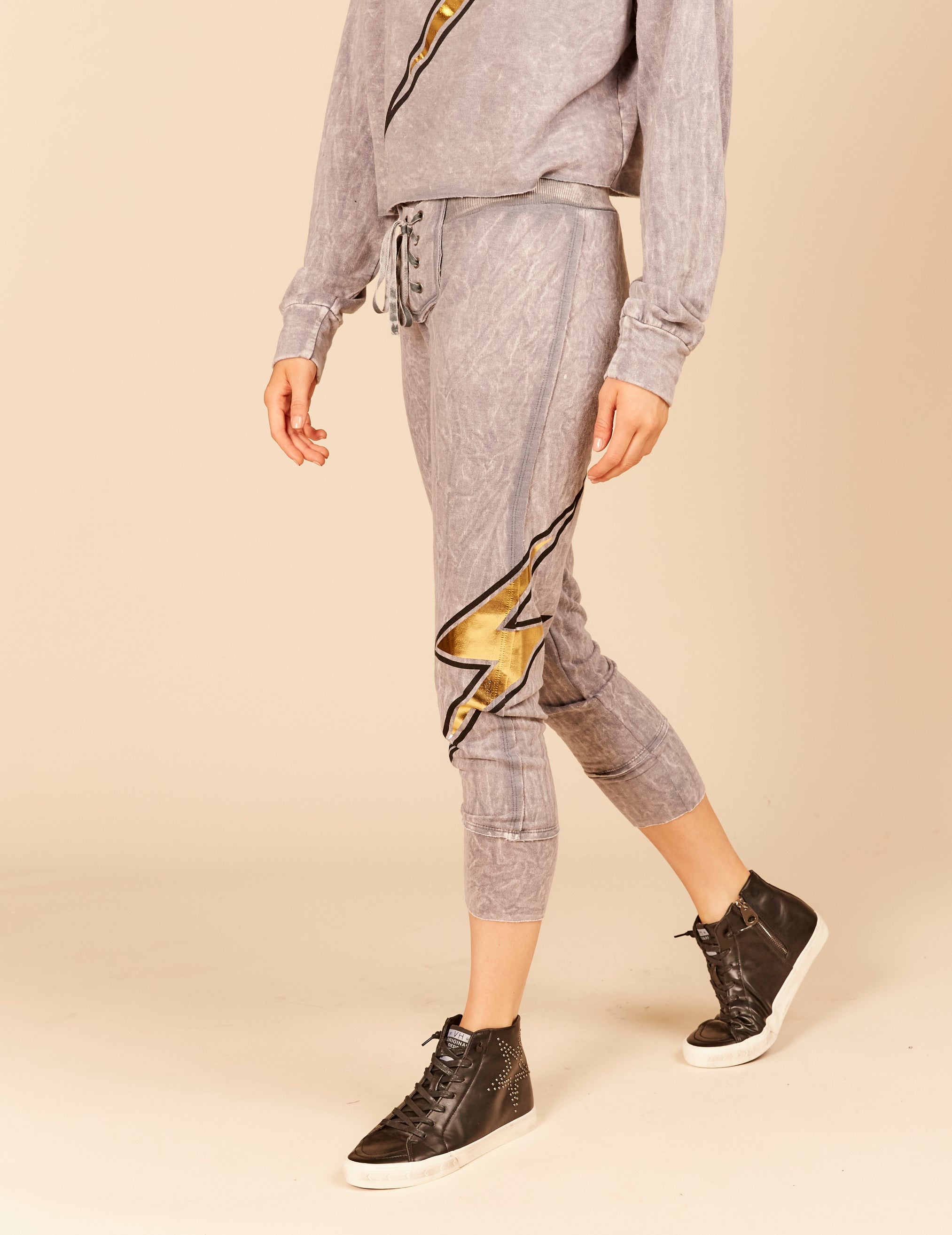 Lightning Bolt Foil Graphic Lace Up Joggers