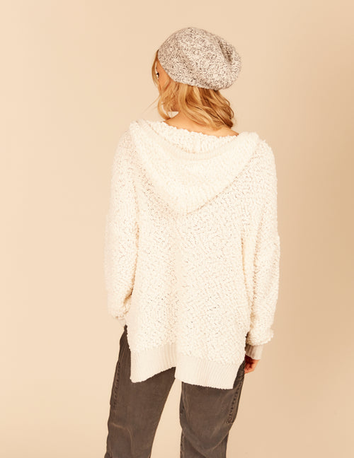 Popcorn Knit Side Slit High Low Hoody