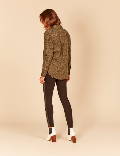 Leopard Tencel Button Down Shirt