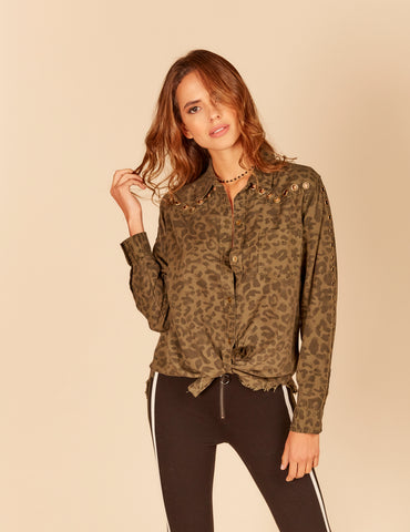 Camo Button Down With Lace Up Back