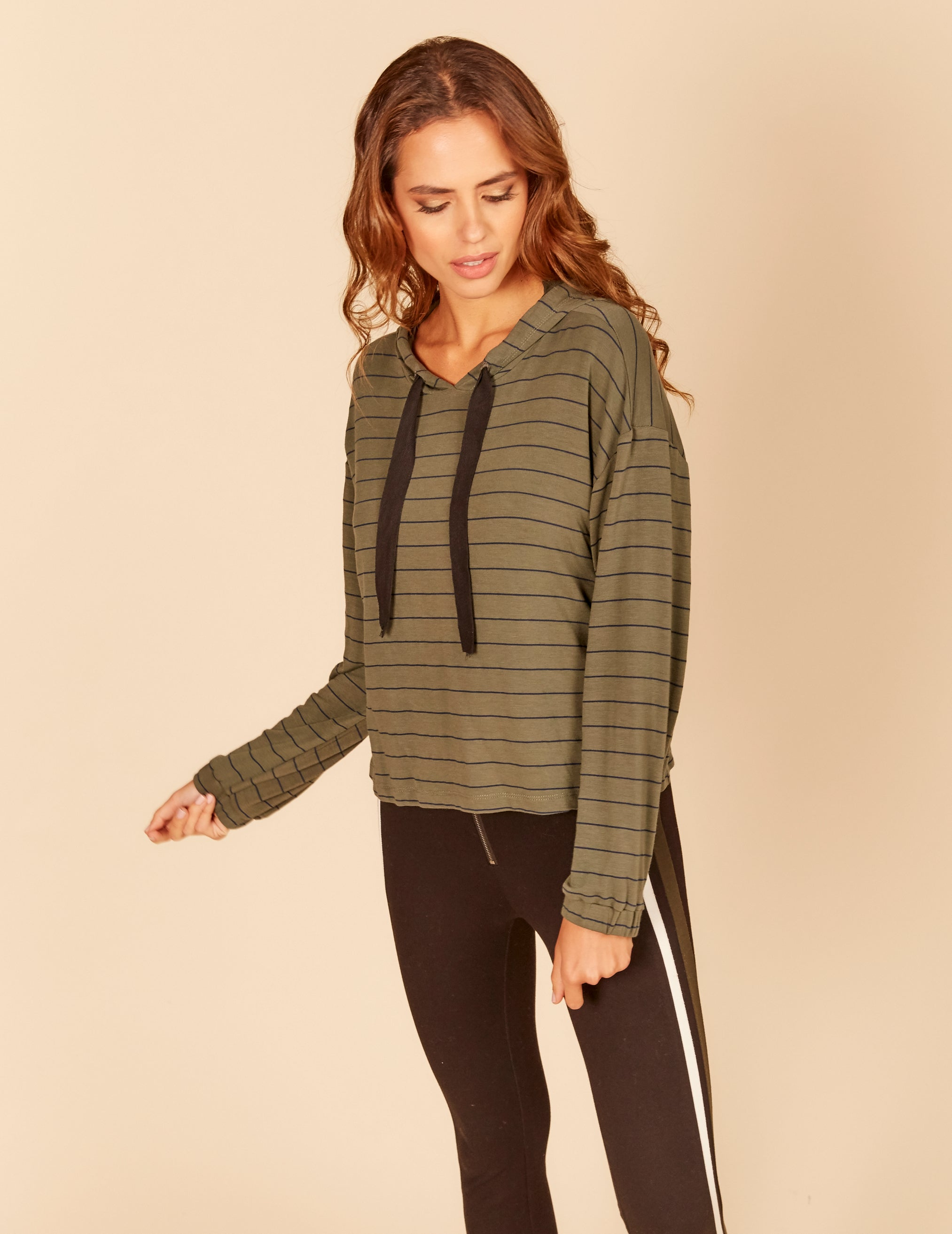 Stripe Light Weight Terry Thick Cord Hoody