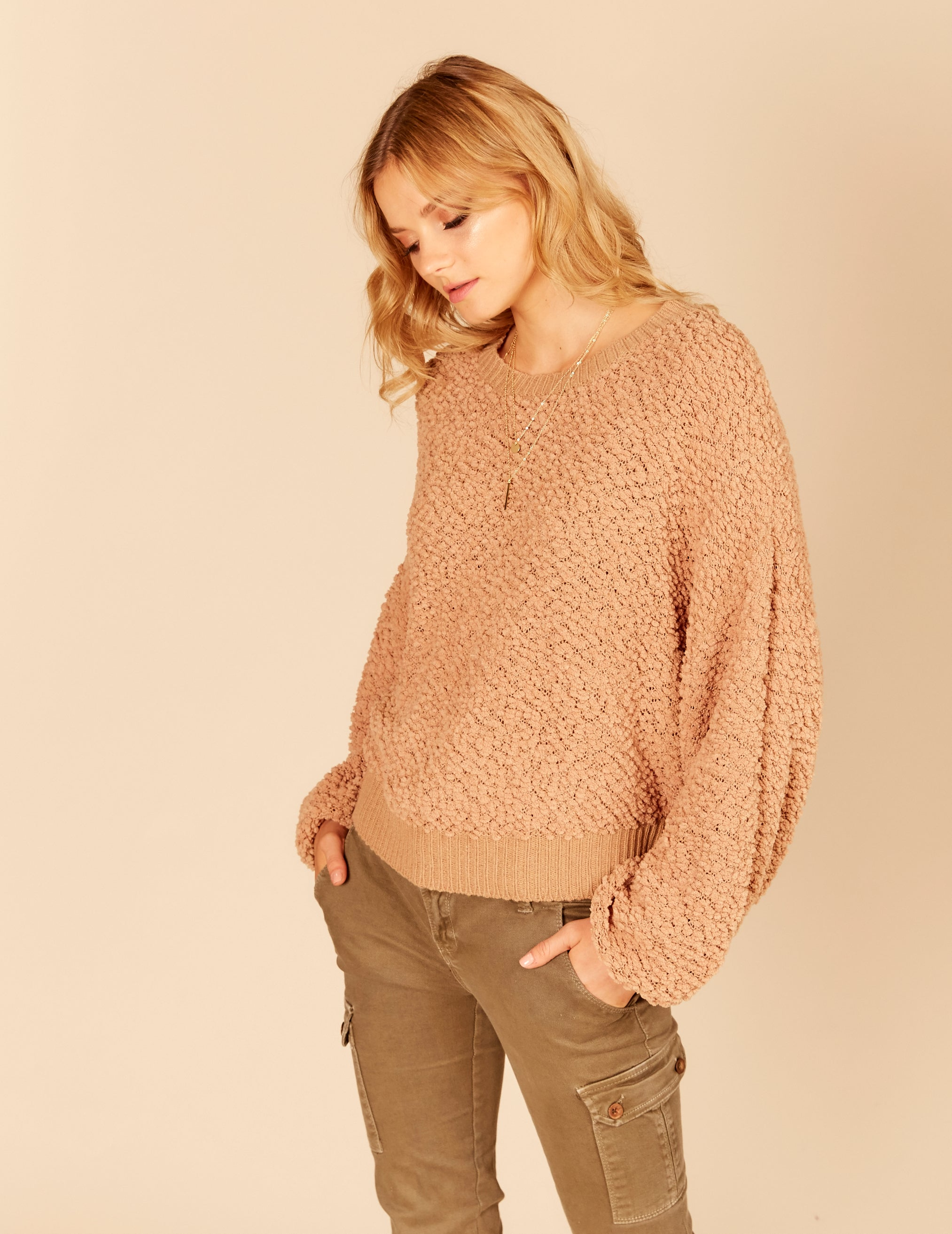 Popcorn Knit Basic Crewneck Sweater