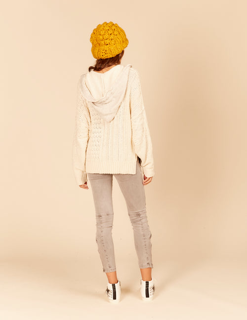 Contrast Cable Knit Hoody