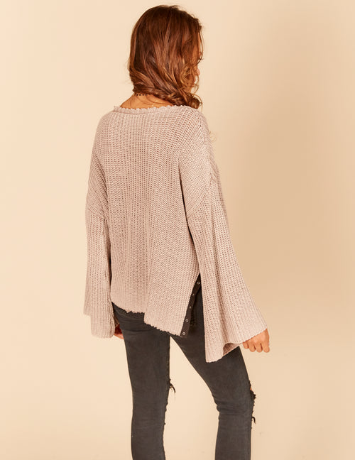 Grommet Taping Trim Bell Sleeve Sweater