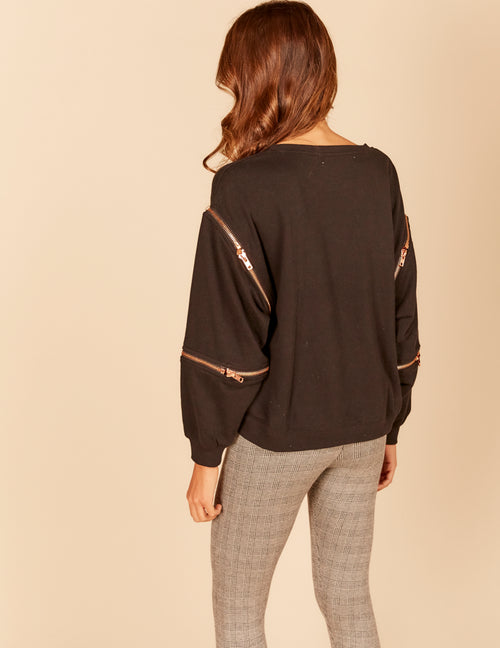 Zipper Detail Boxy Sweatshirt