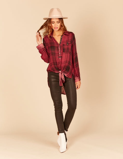 Tie Front High Low Button Down Shirt