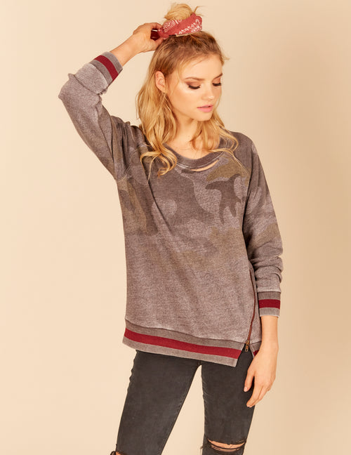 Stripe Rib New Burnout Zipper Detail Pullover Sweatshirt