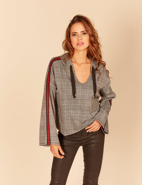 Glenn Plaid Stripe Rib Sleeve Trim Boxy Hoody