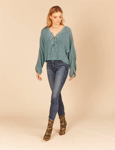 Double Bounded Knit Destroyed Top