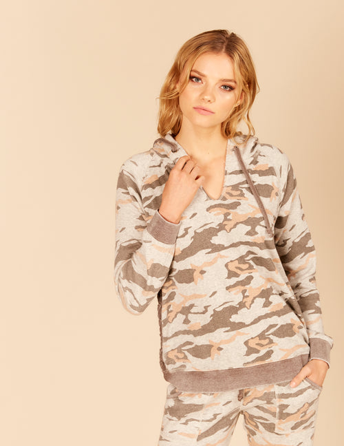 Side Lace Up Burnout Hoody