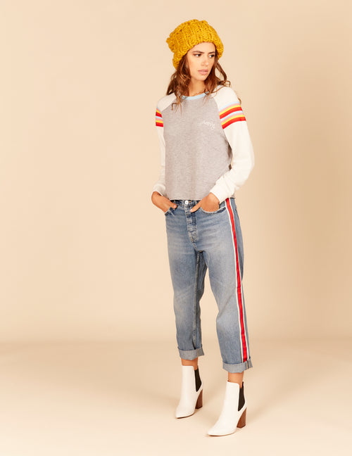"""Groovy"" Embroidered Retro Stripe Sleeve Top"
