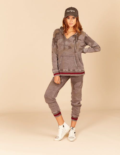 Stripe Rib New Burnout Side Zipper Hoody