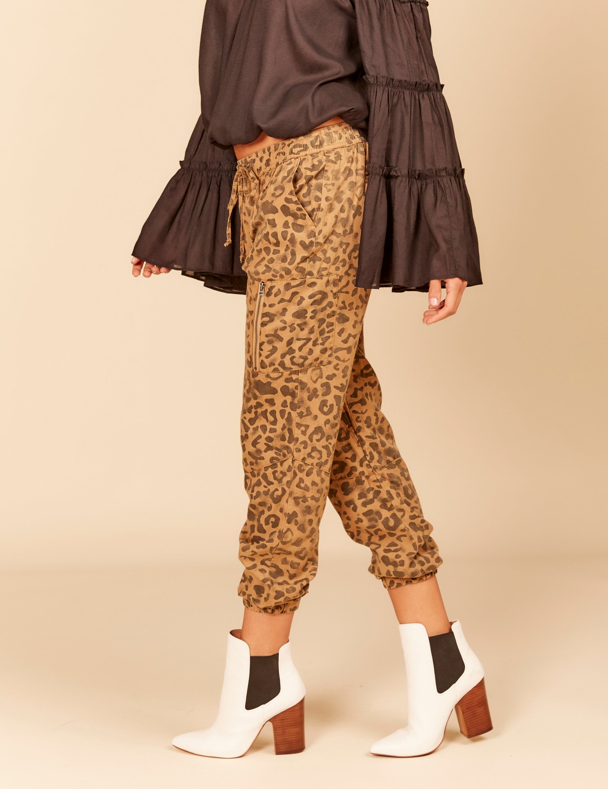Leopard Distressed Tencel Cargo Pants
