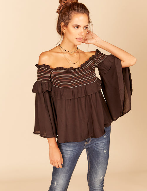 Stitching Smock Off Shoulder Top