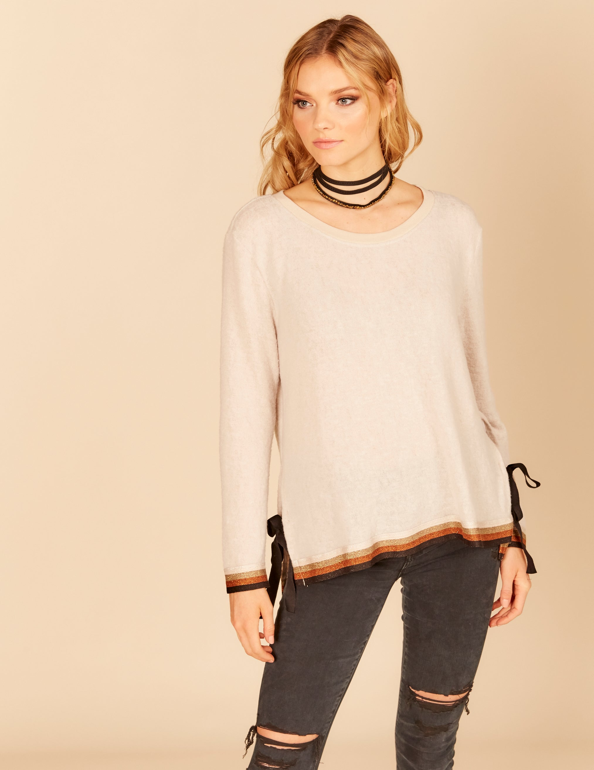 Metallic Stripe Rib Open Side Tie Top