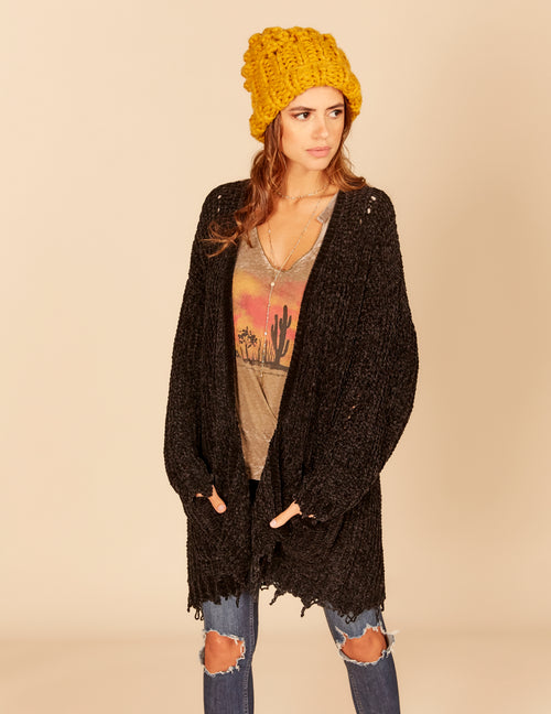 Chennile Knit Destroyed Cardigan Sweater