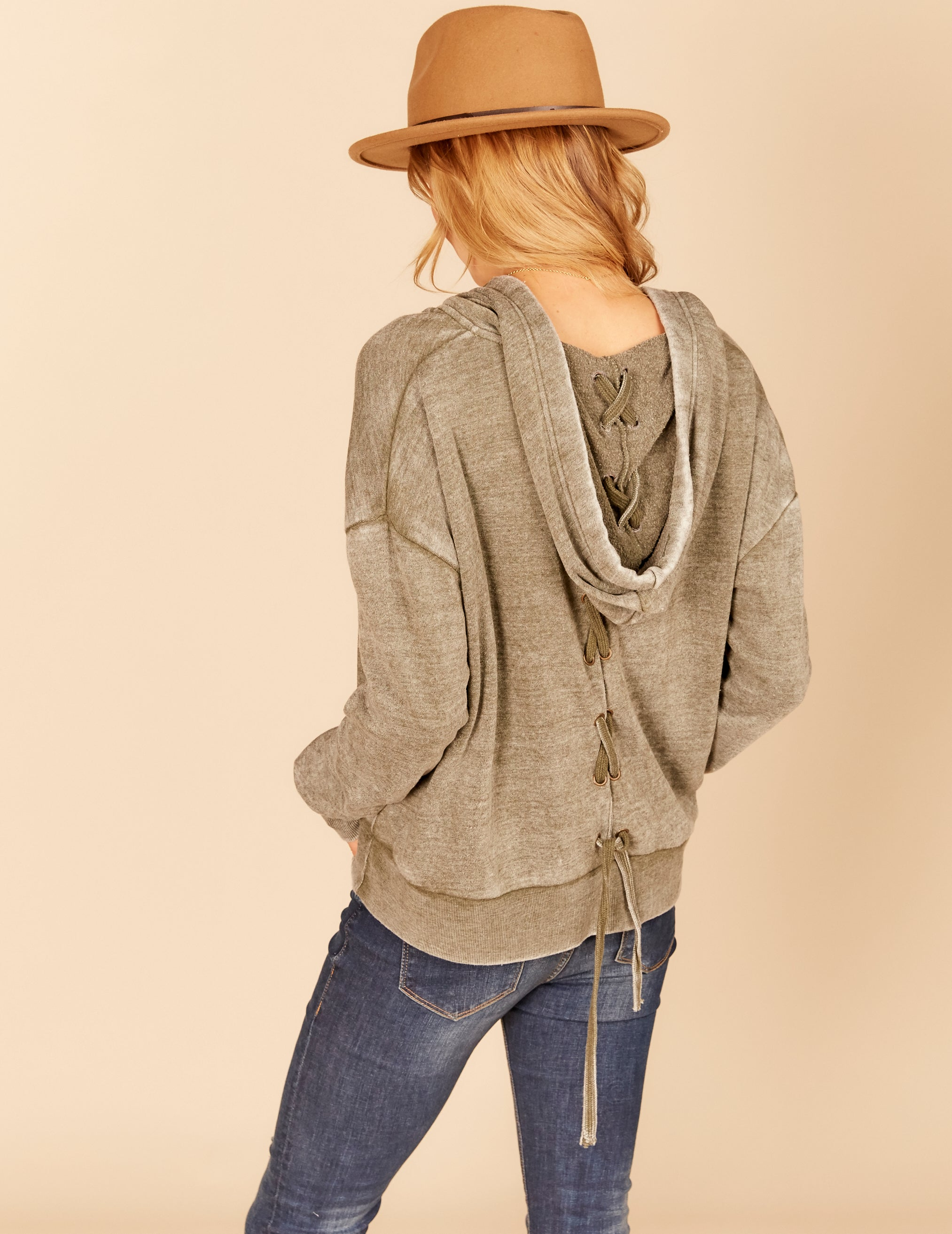 New Burnout Lace Up Back Boxy Crop Hoody