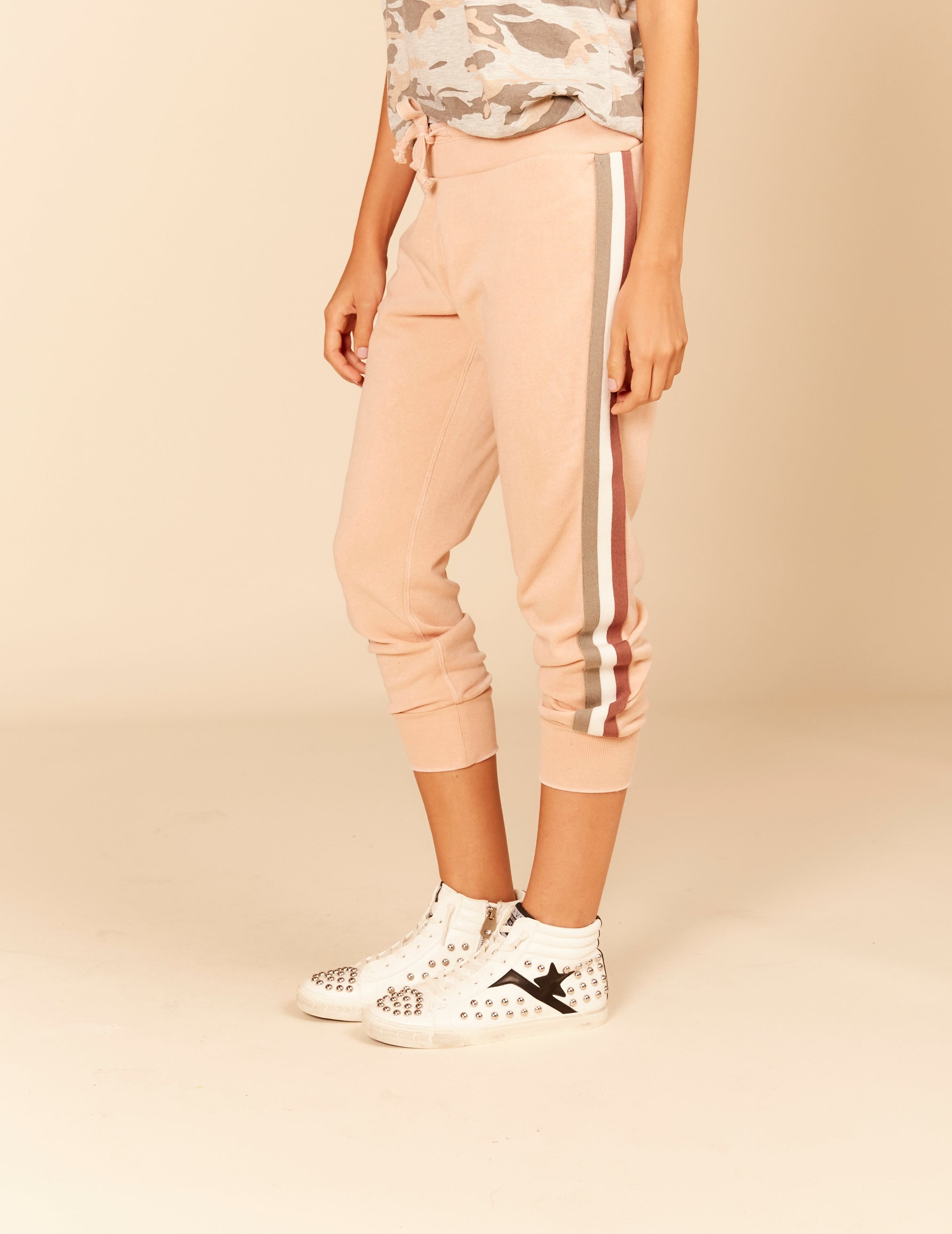 Stripe Burnout Jogger Sweatpants