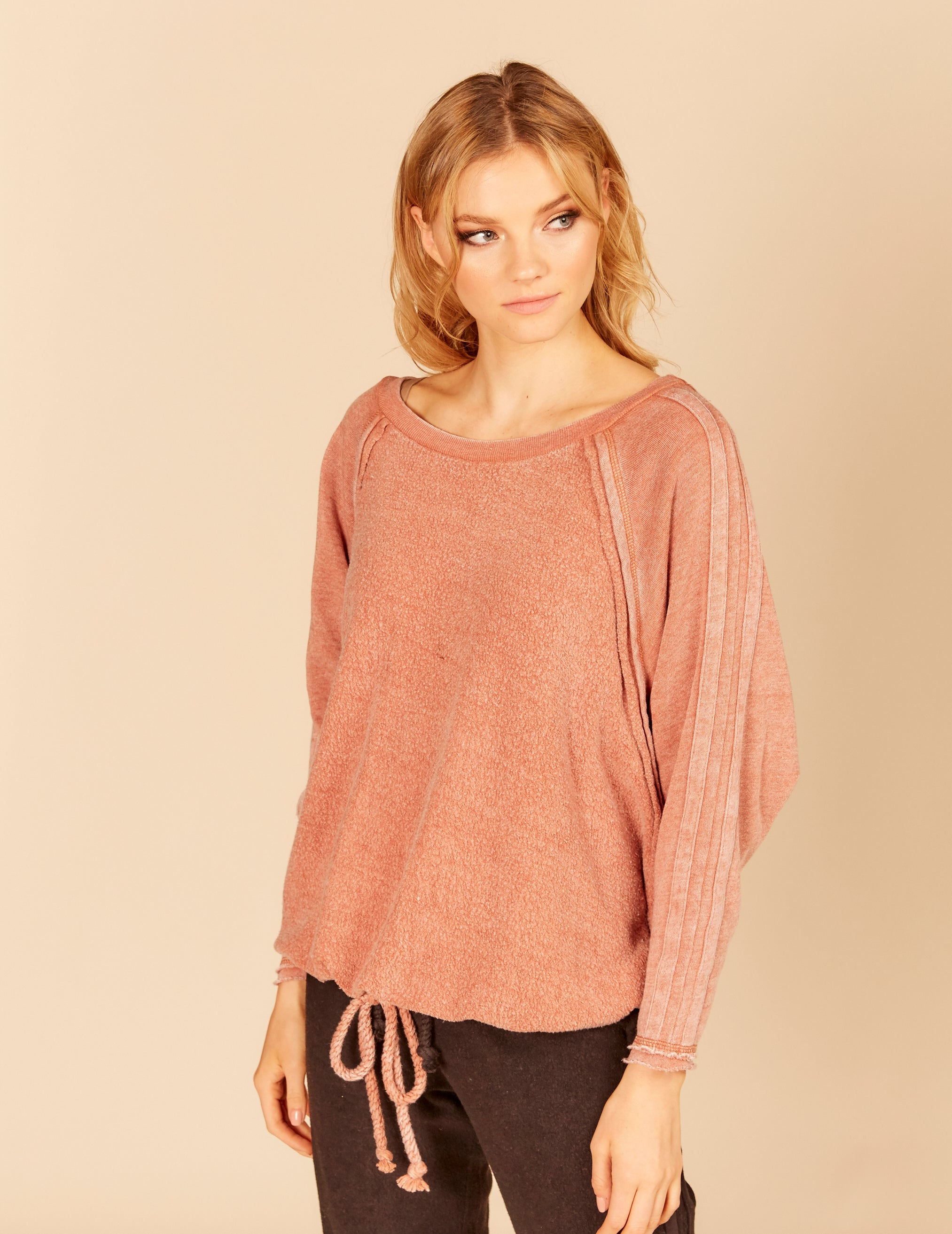 Stripe Sleeve Reverse Burnout Dolman Drawstring Sweatshirt