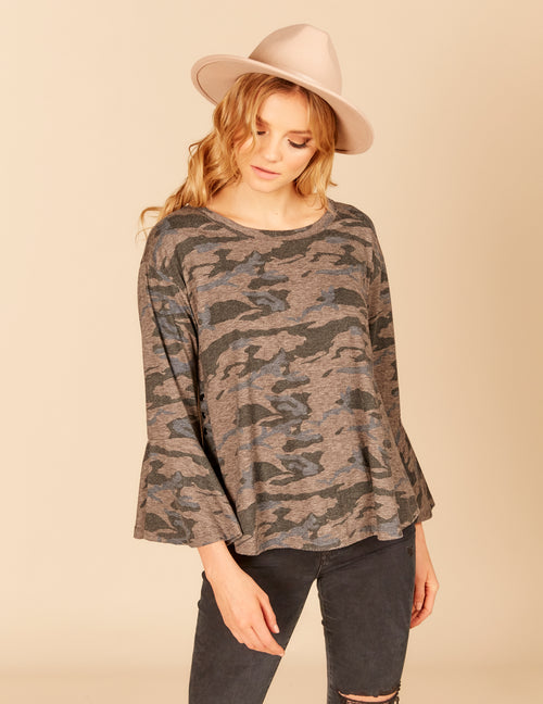 Side Snap Double Bell Sleeve Top