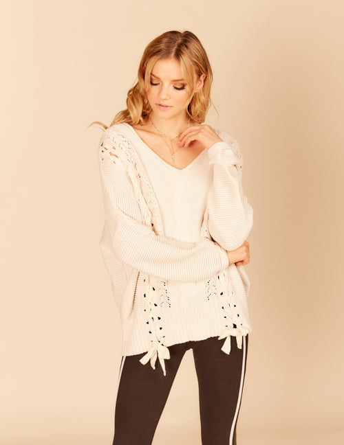 Cable Knit Double Lace Up Sweater