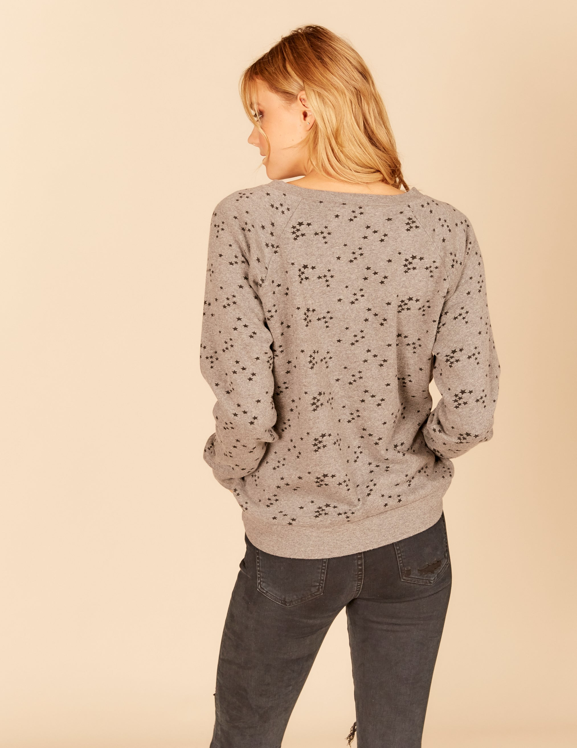 Mini Star Cluster New Burnout Criss Cross Neck Crewneck Sweatshirt
