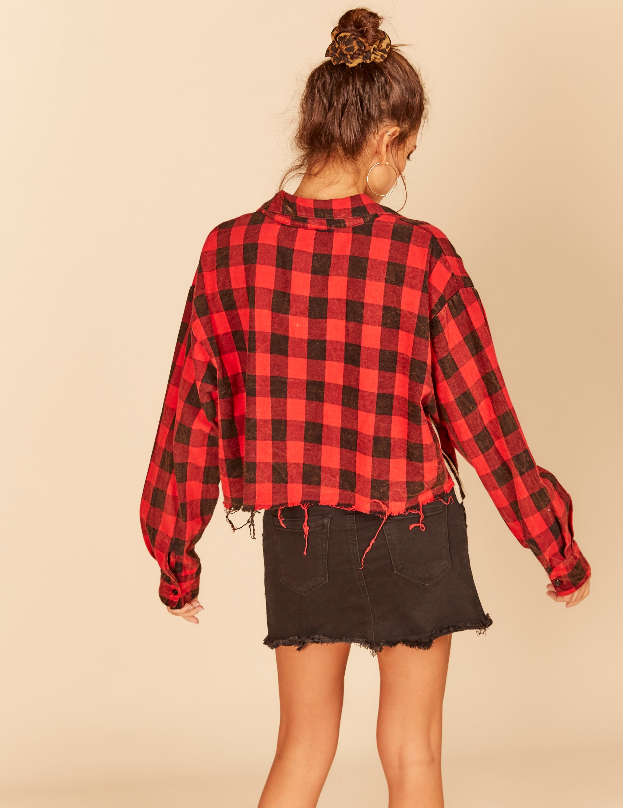 Buffalo Plaid Satin Trim Boxy Cropped Shirt