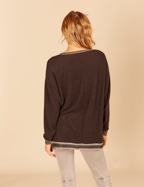 Gradient Stripe Rib Oversized Brushed Hacci