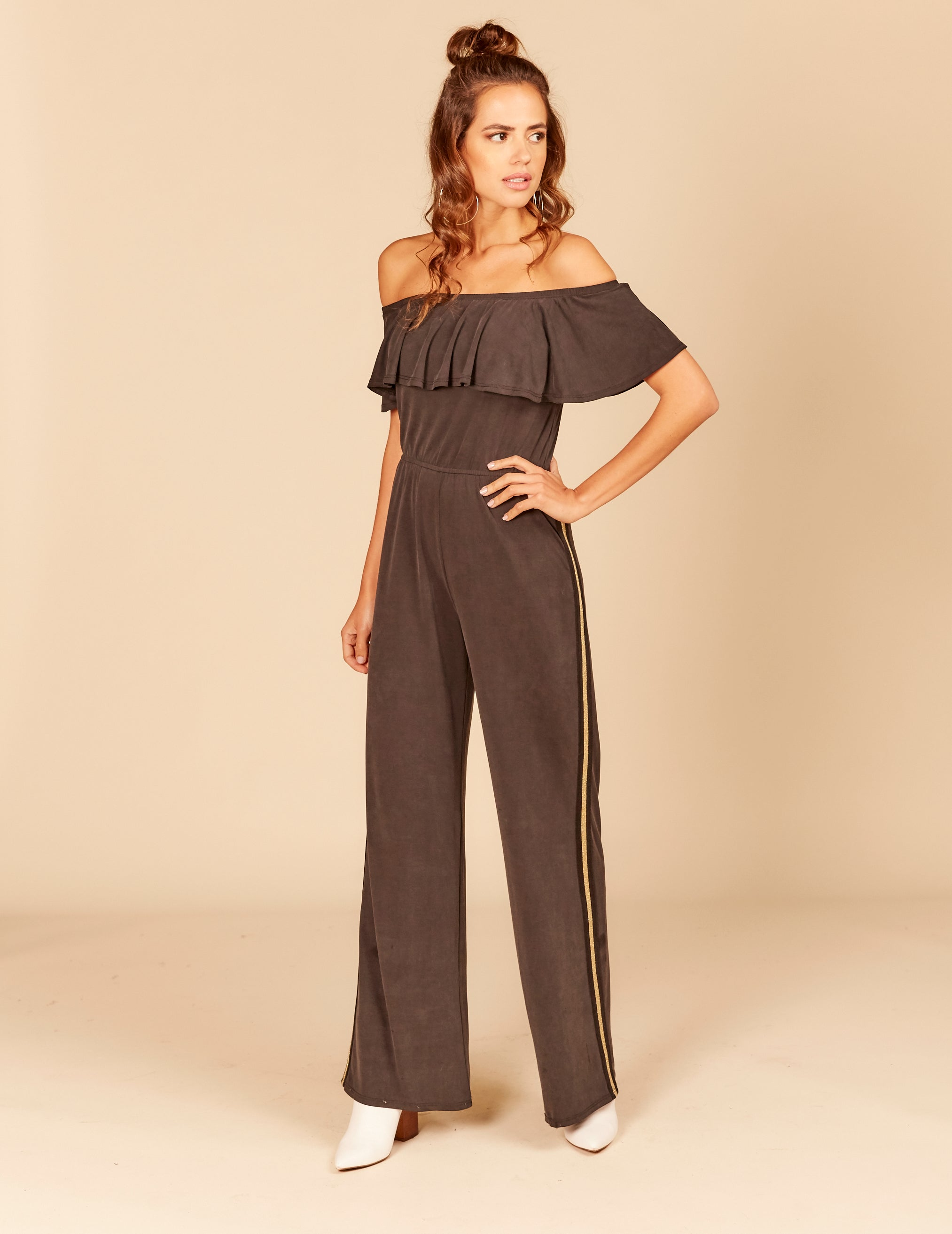 Metallic Stripe Rib Trim Off Shoulder Gaucho Jumper