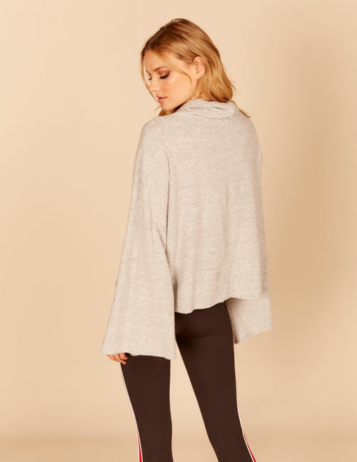 Slit Bell Sleeve Cowl Neck Textured Knit Top